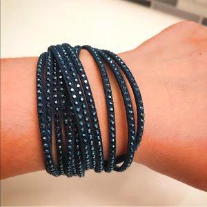 NWOT Swarovski Navy Crystal Slake Wrap Bracelet